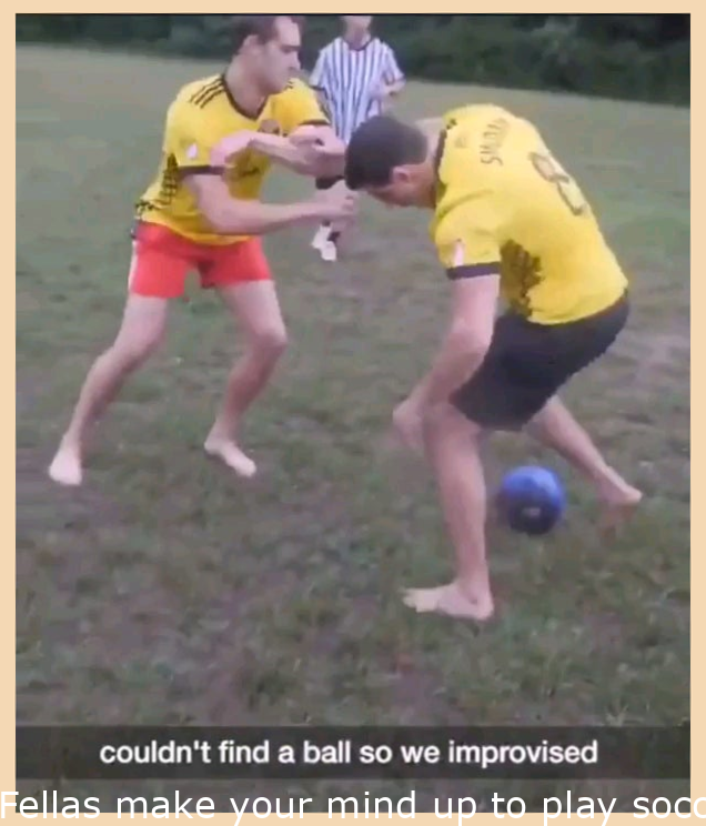 Guys decide to play football(soccer for the Americans) with a bowling ball. Watch till the end.