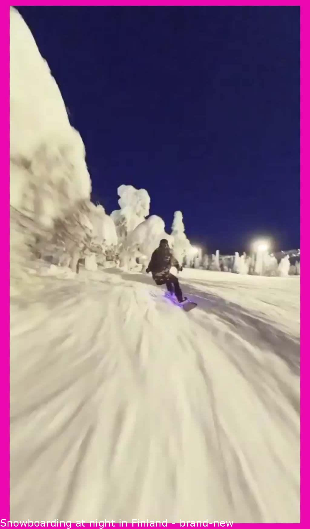 Snowboarding at night in Finland